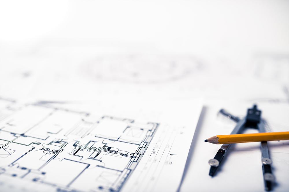 Blueprints on the architects desk